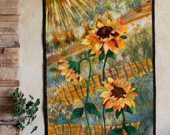 Hand painted fabric art quilt, wallhanging  -Sunflowers - fiber art