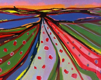 Reedham Marsh Track, greeting card with original design by Sarah Cannell.