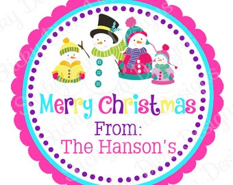 PERSONALIZED STICKERS - Custom Snowman Family Gift Tag - Address labels -  Labels- Round Gloss Labels - Great for Christmas Presents