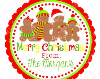 PERSONALIZED STICKERS -Custom GINGERBREAD man Christmas Gift Tag-Address labels -  Labels- Round Gloss Labels - Great for Christmas Presents