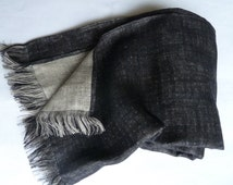 "Handmade Linen Washed Two sided SCARF 44 x 200 cm(17.3""x 79"") Stone & Black Polka Dotted Color with fringes, Unisex Scarf, Housewarming Gift"