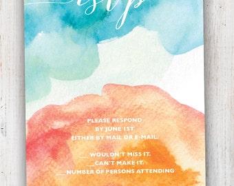Watercolor Wedding RSVP Card