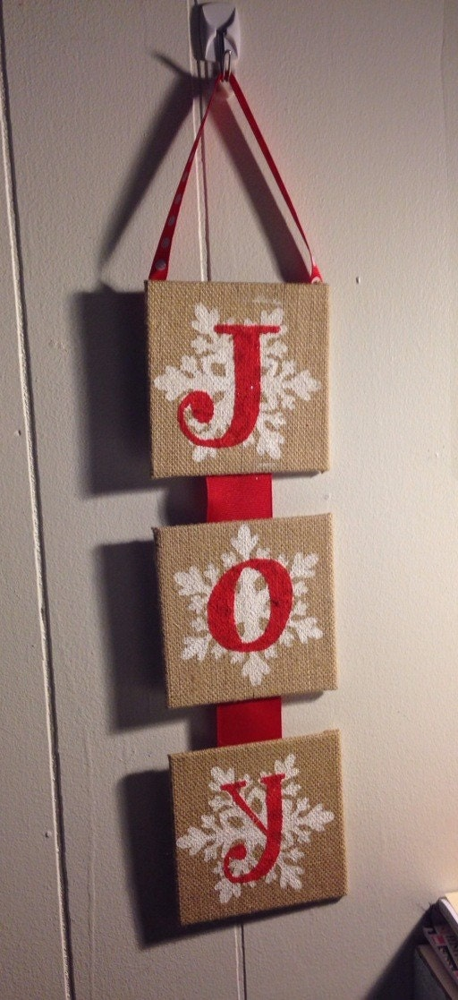 JOY Burlap Sign Christmas Decor Wall Door Hanging Hand