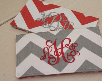 Personalized Checkbook Cover, Monogrammed Case, Slip Wallet, Coupon/Receipt, Mother's Day Gift, Stocking Stuffer
