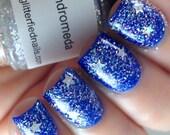 Andromeda - Iridescent Glitter Nail Polish Silver Holographic Stars 5 free nail polish handmade indie nail polish vegan cruelty free nail