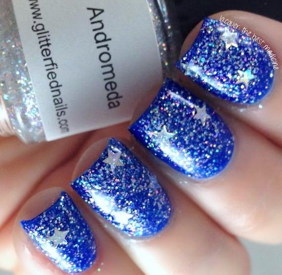 Andromeda Iridescent Glitter Nail Polish Silver Holographic