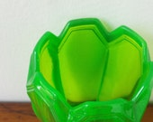 Medium resin vase. Transparent lime green. Classic style.