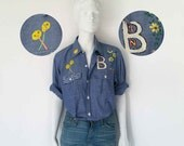 The Lollipops † Flowers Folk Art Hand Painted DICKIES Chambray Denim Button Front Work Shirt XS S M L: Vintage Womens Shirt 70's