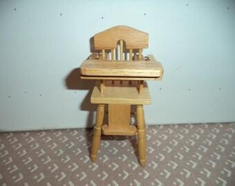 1:12 scale dollhouse miniature highchair Oak