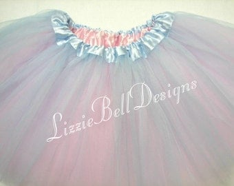 Blue / Pink Reversible Ballet Tutu Two Tone Skirt  / Child Toddler Costume Photo Prop Soft Tulle