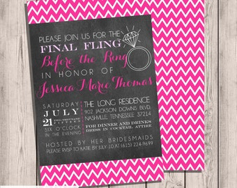 Bachelorette Party Invitation Custom, Any Color, Final Fling Before the Ring, Chevron & Chalkboard Double-Sided 5x7