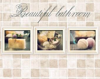 Bathroom Decor Set of 3 Photographs, Wall Art, Wall Decor, Rustic Bathroom Decor, Vintage Shabby Chic Bathroom Art, Bathroom Decor, Save 25%