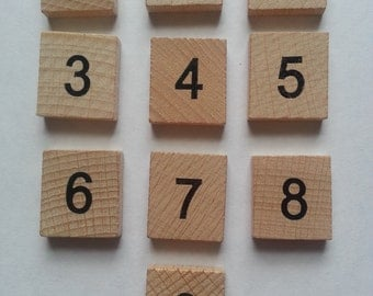 Wooden scrabble tiles numbers 5 x 0-9 (50 tiles) set, word and frame art, perfect for crafting