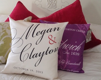 Personalized Wedding Pillow, Engagement Pillow