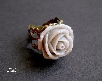 Big gray bronze flower ring