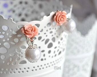Earrings pink flower clips