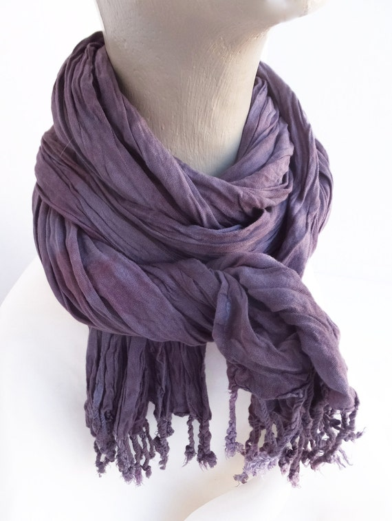 """Purple crinkle scarf - crinkle scarf - rayon scarf - fringe scarf - dusty purple, purple, lilac, lavender - hand dyed - 20"""" x 70"""" - (a)"""
