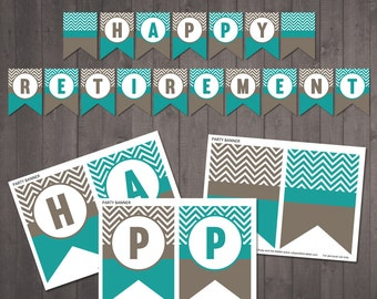 "PRINTABLE ""Happy Retirement'' banner - chevron banner -  INSTANT DOWNLOAD"