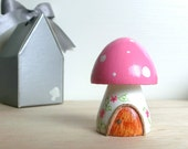 Teeny Tiny Wooden Fairy House - Pink White stem Toadstool / Mushroom - Personalized available