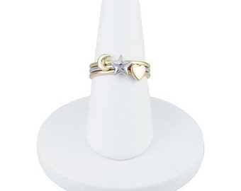 Designer 14k Rose, Yellow and White Gold Stackable Ring Set Heart, Star, Moon Trio ~ FREE SHIPPING