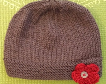 Knit Hat with Crochet Flower Accent