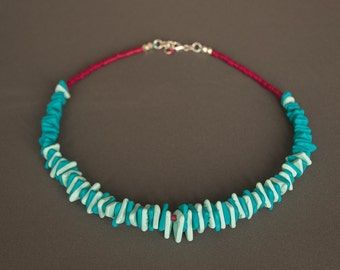 Polymer clay necklace Choker necklace Boho necklace Mint necklace Red necklace Beaded necklace Ceramic Casual Nickel free Spring Beadwork