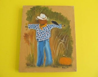 Oil Paintings, Stretched Canvas Paintings, Scarecrow Painting, Halloween, Fall, Oil on Canvas, Acrylic Paintings, Fall Decor, Signed Art