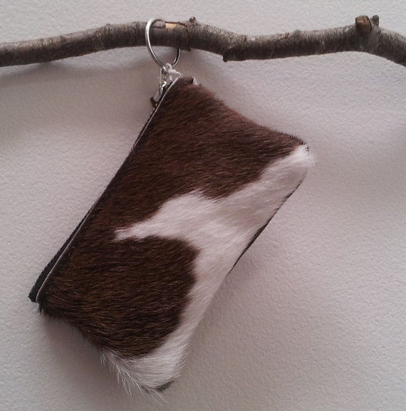 Cowhide leather purse (pouch) brown and white