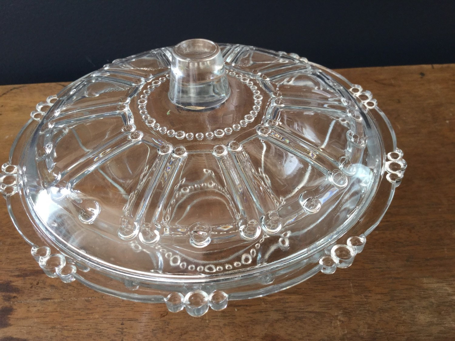 Vintage Glass Serving Bowl With Lid