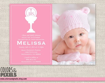 Chalice Baptism Invitation, Christening Photo Invite, First Communion DIY Printable Invitation, Invitacion para Bautizo o Primera Communion