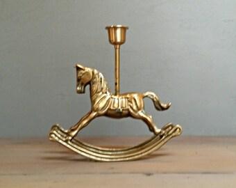 Brass Rocking Horse Candle Holder -  Pony -   Vintage decor