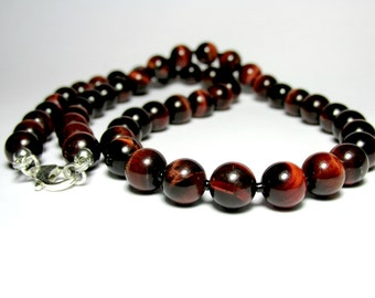Mens Red Tiger Eye Necklace, Mens Beaded Necklace, Mens Silver Necklace, Mens Gemstone Necklace, Unisex Necklace, Gift for Him