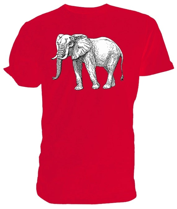 Elephant T shirt. classic round neck short sleeved choice of sizes and colours,