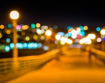 Colorful bokeh background taken at the pier at night, Manhattan Beach, California - Landscape Photography Fine Art Print or Wrapped Canvas