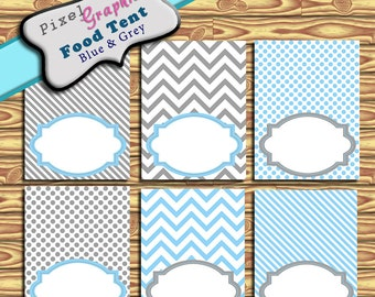 Food Tent Cards Blue Grey blank Printable Party Decoration Birthday Buffet Labels