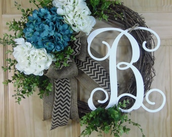 spring  wreath - summer wreath - hydrangea wreath - mothers day wreath - housewarming gift - celestial wreaths