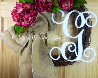 Spring wreath - wreaths - summer wreath - hydrangea wreath - grapevine wreath -  mothers day wreath- house warming gift