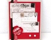 Vintage Style Card - Any Occasion - Vintage Postcards - Vibrant Red Card - Black and White - Red Gingham Ribbon - Striking Card