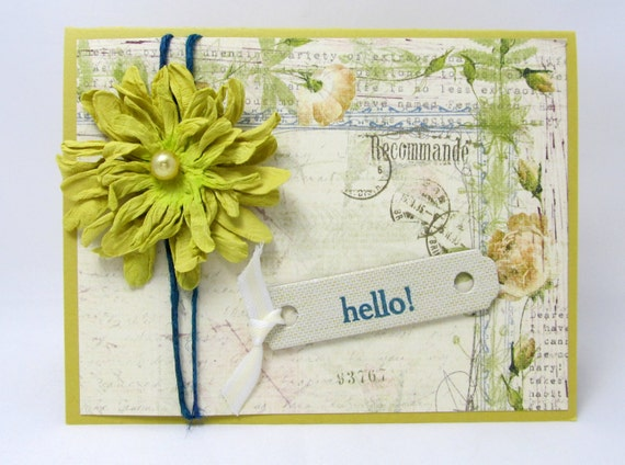 Hello - Any Occasion Card - Vintage Style - Shabby Chic Flower - Bright Green - Blank Card - Botanical Print - Hand Stamped Tag