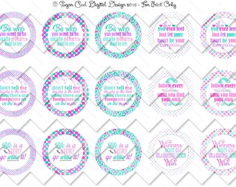 Inspirational Sayings Bottle Cap Image Sheet, Instant Download, Handmade