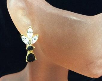 Vintage Black & Clear Rhinestone Floral Dangle Earrings