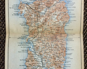 Sardinia, Italy 1883 Vintage Map - Sorso, Olbia, Pula, Alghero, Orosei, Fonni, Cagliari, Nuoro, Bosa, Sassari, Guspini, Gavoi [6 x 8 in.]