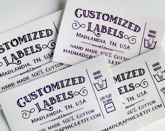 "Custom Fabric Labels, Retro, Care Added,  64 Labels  2w"" x 1.25h"" Uncut •  Colorfast 100% Preshrunk Cotton, CPSIA Compliant"