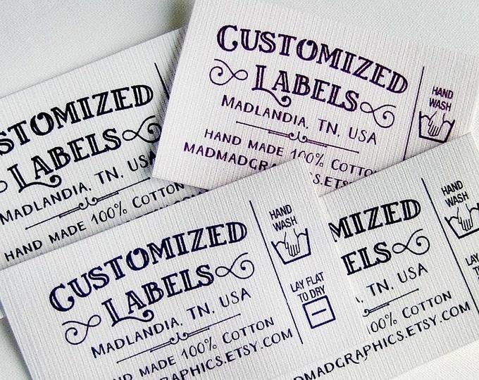 "Custom Fabric Labels, Retro, Care Added,  64 Labels  2w"" x 1.25h"" Uncut •  Colorfast 100% Preshrunk Cotton, CPSIA Compliant"