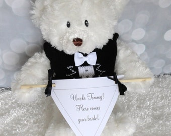 Custom Banner Bear, Here Comes Your Bride, Ring Bearer Gift, Teddy Bear, Personalized Gift, Wedding Keepsake