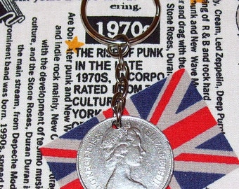 1968 British Old Large Ten Pence Coin Keyring Key Chain Fob Queen Elizabeth II