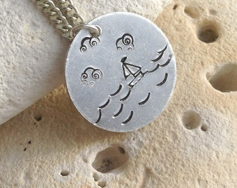 Boat necklace - boat sailing in the sea, ocean picture pendant on silver plated chain