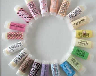 Choose Your Flavor -  Choose five - Vegan Lip Balm - Natural Lip Butter - bath and beauty