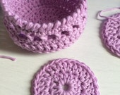 Crochet Pattern for Basket of Make up removing pads.