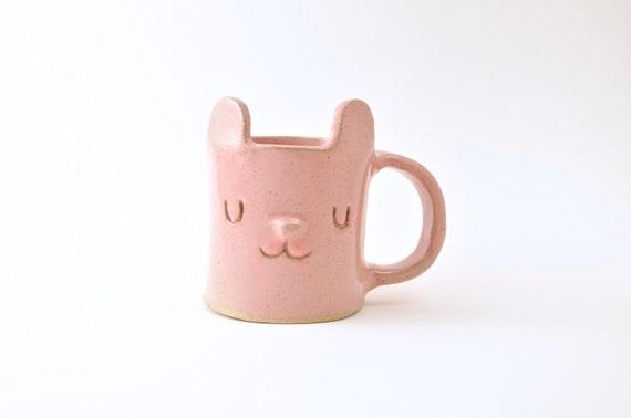 Large pink bear animal face mug stoneware left handed mug for Animal face mugs